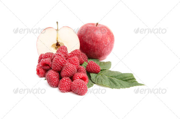 Juicy,ripe apples and raspberries on a white. - Stock Photo - Images