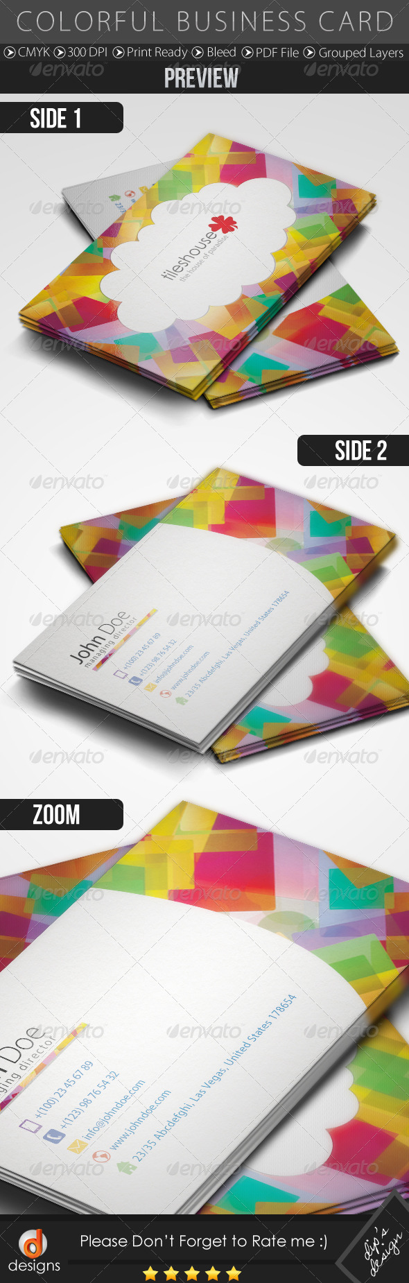 Colorful Business Card - Business Cards Print Templates