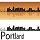 Portland Skyline in Orange Background - GraphicRiver Item for Sale