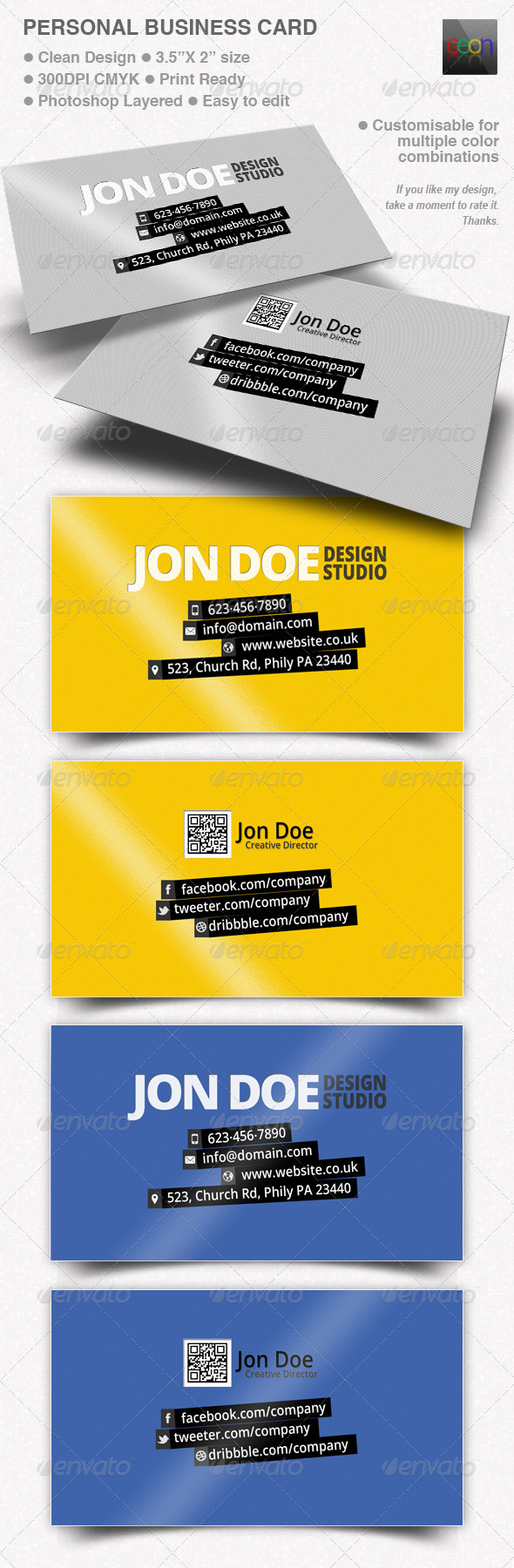 Personal Business Card - Black & Grey - Corporate Business Cards