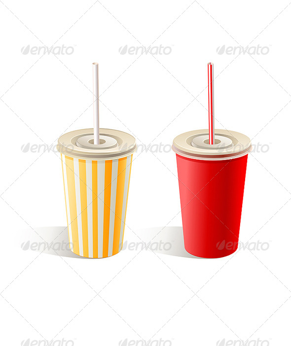 Fast Food Paper Cups - Objects Vectors