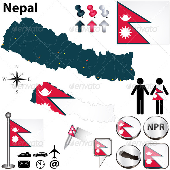 Map of Nepal - Travel Conceptual
