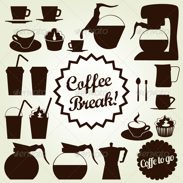 Coffee Set Vector Icon Collection - Food Objects