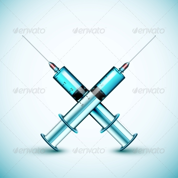 Two Medical Syringes  - Health/Medicine Conceptual