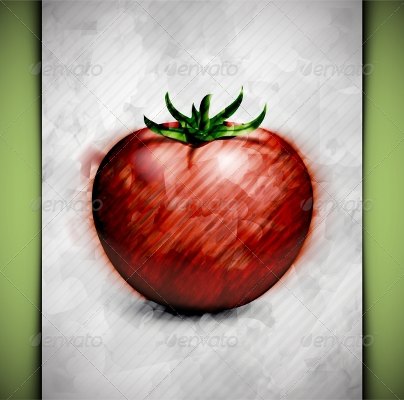 Tomato Watercolor - Food Objects