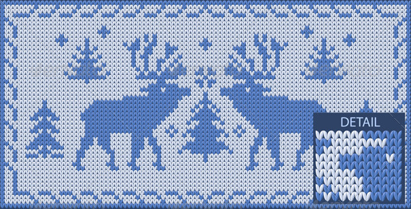 North knitted Pattern with Deers - Patterns Decorative