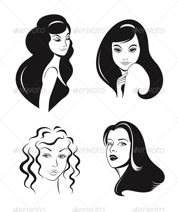 Woman Faces Vector Set - People Characters