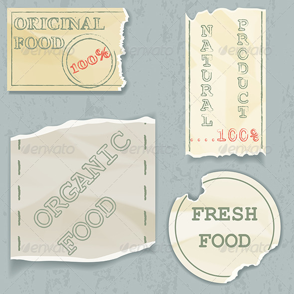 Labels of Natural Food on Scraps of the Old Paper - Decorative Symbols Decorative