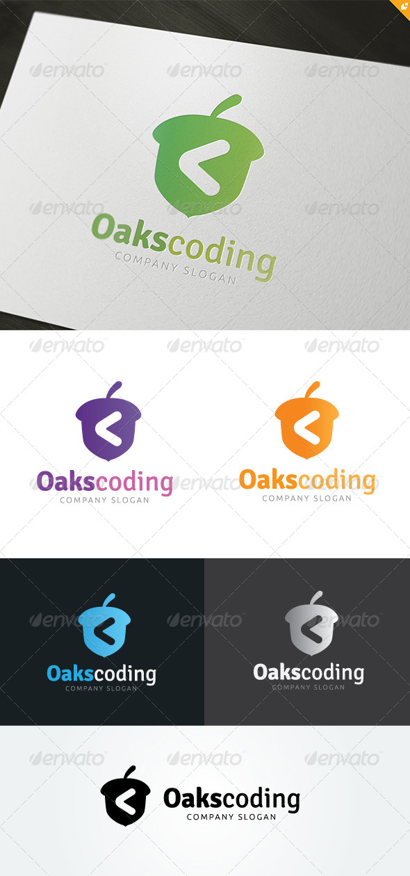 Oaks Coding Logo - Nature Logo Templates
