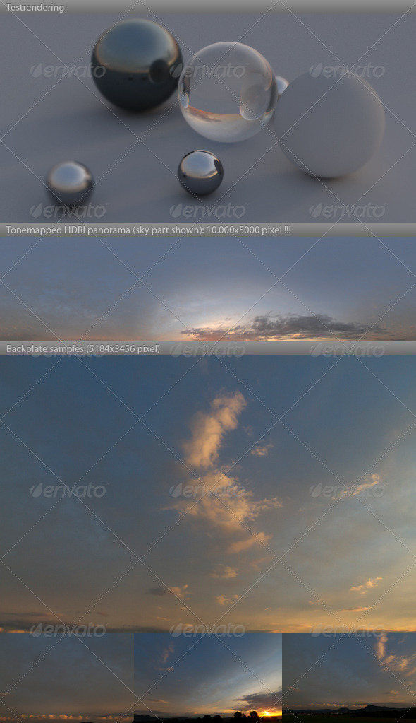 HDRI spherical sky panorama -1841- sunny sunset - 3DOcean Item for Sale