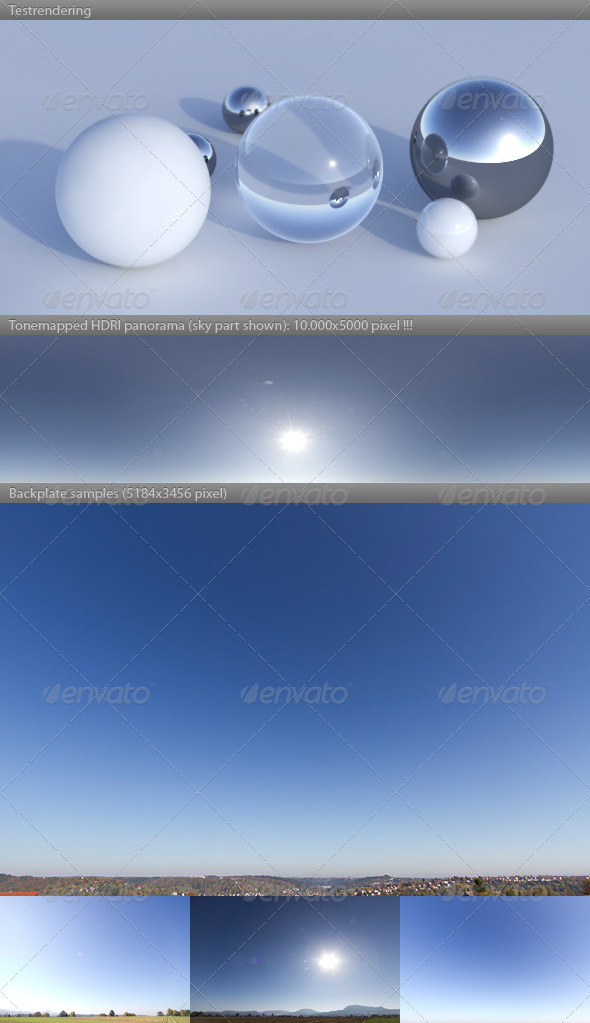 HDRI spherical sky panorama -1232- sun blue sky - 3DOcean Item for Sale