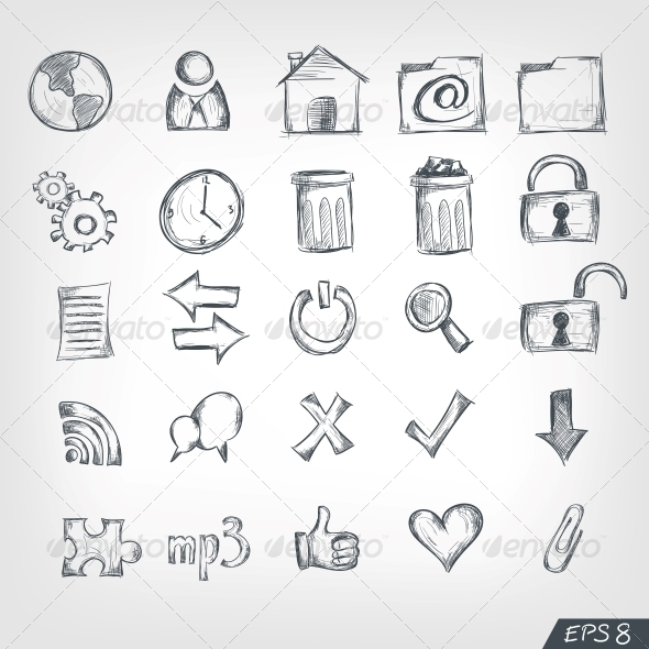 Sketch Icon Set - Miscellaneous Conceptual