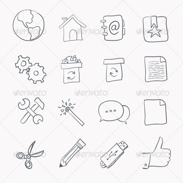Sketch Icon Set - Web Elements Vectors