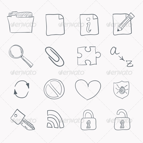 Sketch Icon Set - Web Elements Vectors