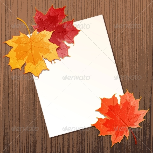 Maple Leaves with Paper Sheet - Organic Objects Objects