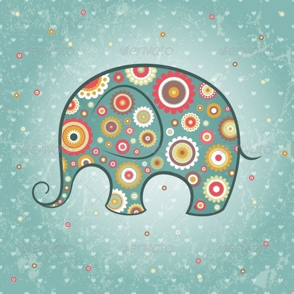 Floral Vector Elephant - Animals Characters