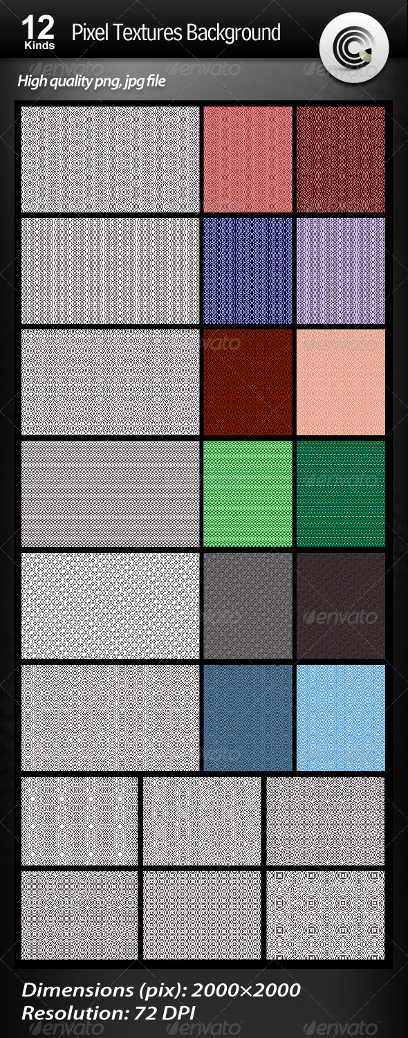 12 Kinds Pixel Textures Background - Patterns Backgrounds