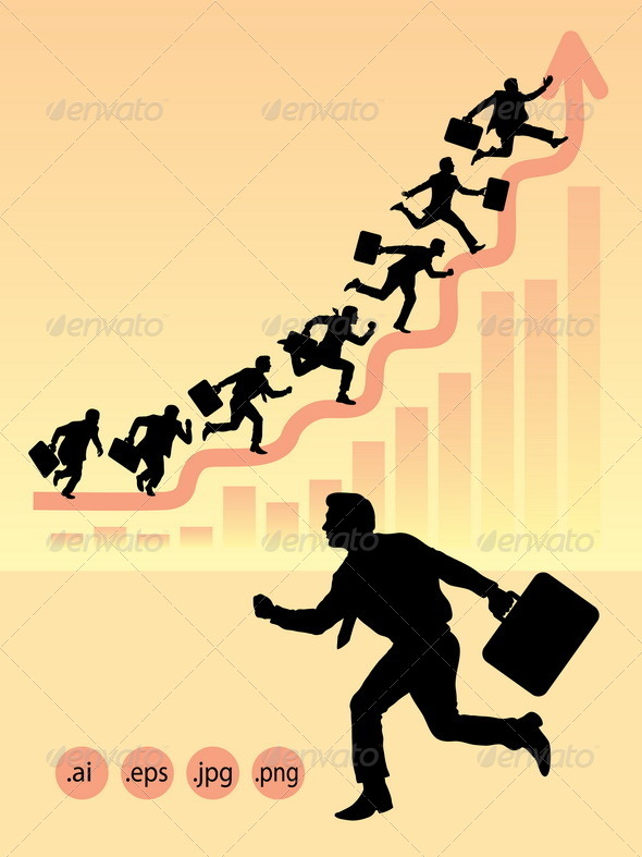Businessman Running Silhouettes - Concepts Business