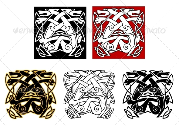 Tribal Wolves in Celtic Style - Tattoos Vectors