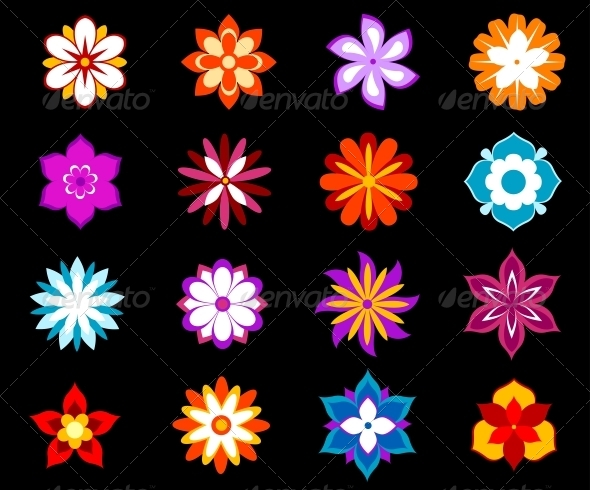 Set of Colorful Flowers and Blossoms - Flowers & Plants Nature