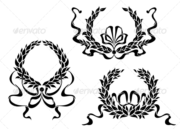 Coat of Arms with Laurel Leaves and Ribbons - Decorative Symbols Decorative