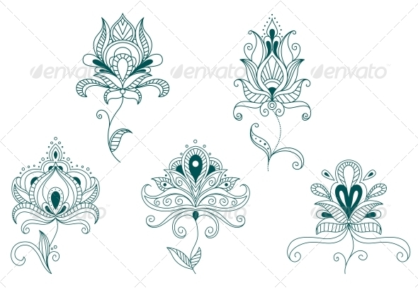 Abstract Flowers and Blossoms - Flourishes / Swirls Decorative