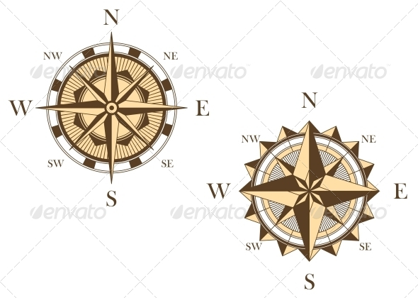 Two Vintage Compasses - Decorative Symbols Decorative