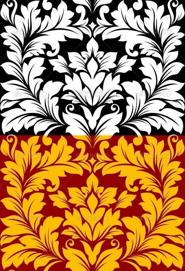Seamless Pattern in Retro Damask Floral  - Patterns Decorative
