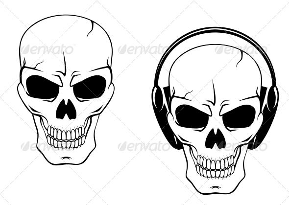 Danger Skull in Headphones - Monsters Characters