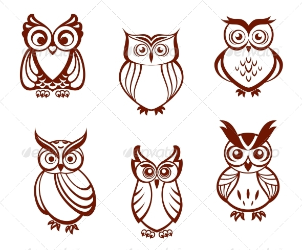 Set of Cartoon Owls - Animals Characters