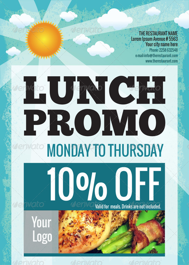 lunch  u0026 dinner promo poster  flyer  a3  a5  by good
