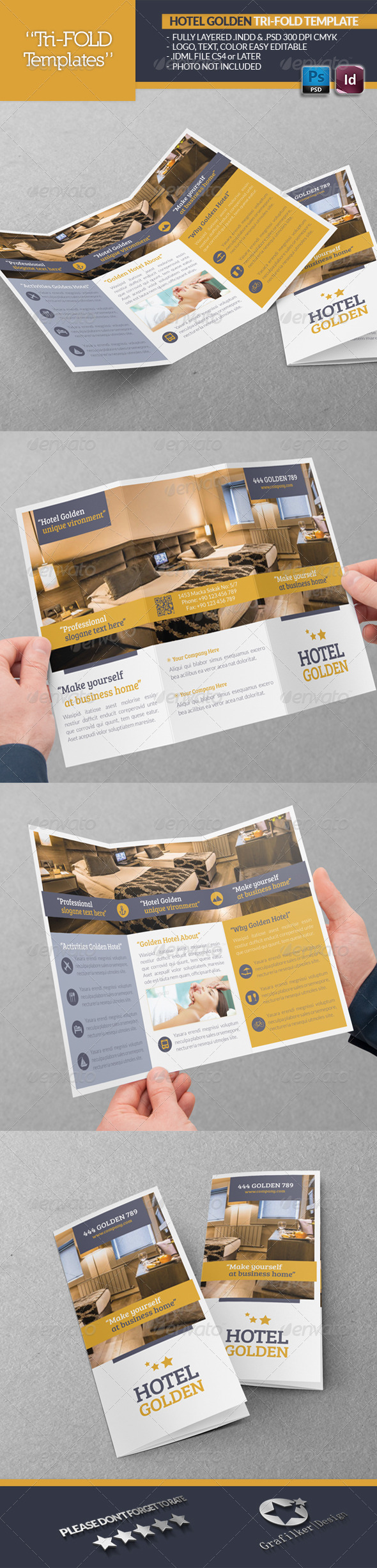 Hotel Golden Tri-Fold Template - Brochures Print Templates