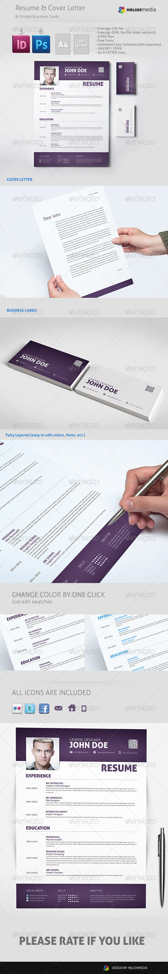 Modern Resume & Cover Letter & Business Cards - Resumes Stationery