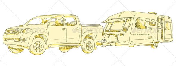 Caravan Drawing - Travel Conceptual