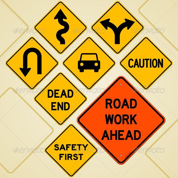 Road Sign Set - Objects Vectors