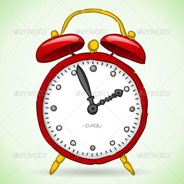 Red Alarm Clock - Objects Vectors