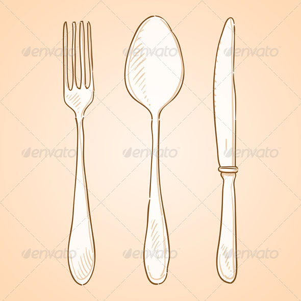 Rough Cutlery Illustration - Food Objects