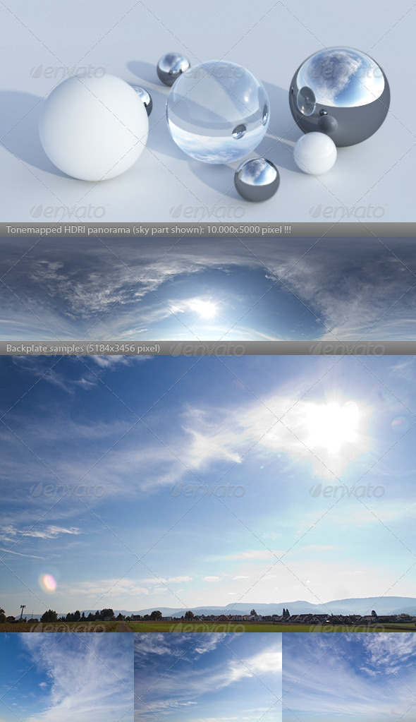 HDRI spherical sky panorama -1844- evening sun - 3DOcean Item for Sale