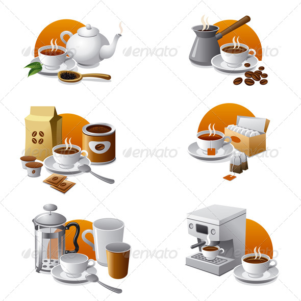 Coffee and Tea Icon Set - Icons