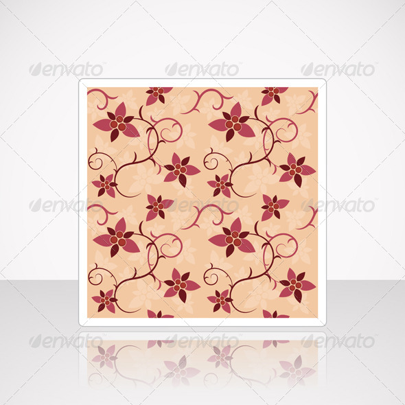Card with Floral Seamless Pattern - Backgrounds Decorative
