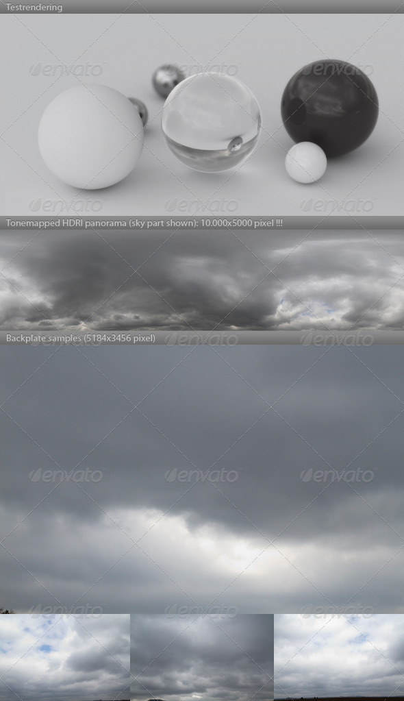 HDRI spherical sky panorama -1400- gloomy & cloudy - 3DOcean Item for Sale