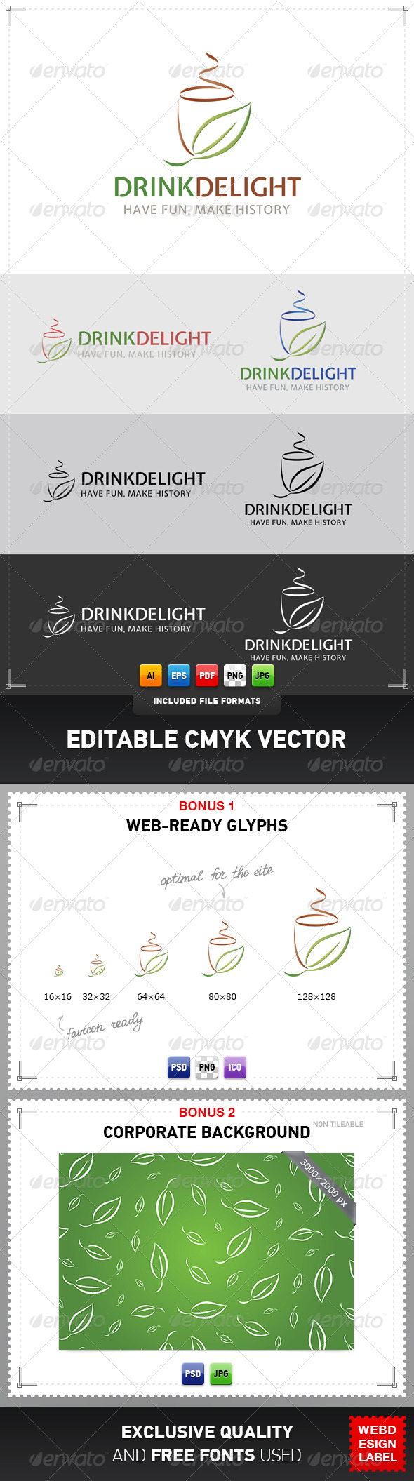 Drink Delight Logo - Food Logo Templates