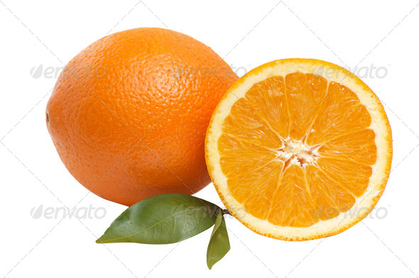 Oranges with green leaves. - Stock Photo - Images