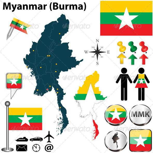 Map of Myanmar - Travel Conceptual