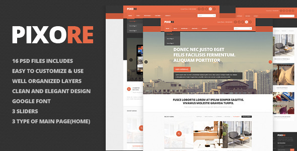 Pixore – clean and modern PSD template