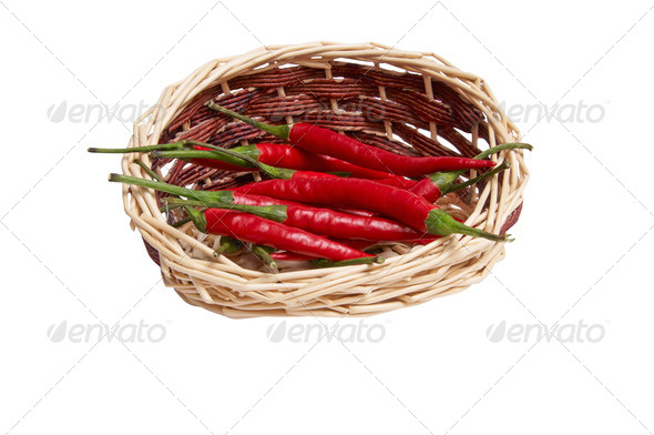 Splendid, wooden basket full of red peppers. - Stock Photo - Images