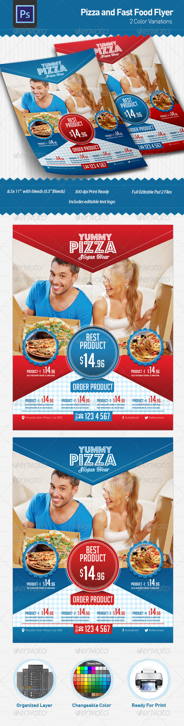 Pizza and Fast Food Flyer - Restaurant Flyers