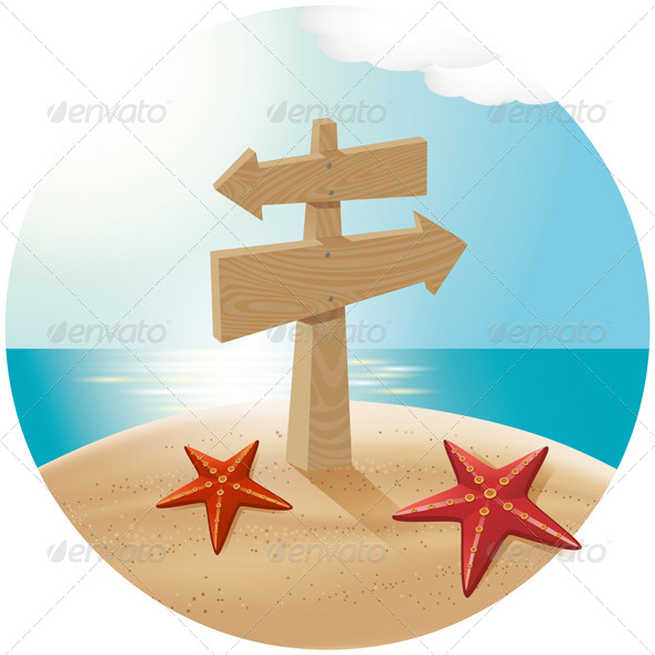 Guidepost At The Sea Beach - Travel Conceptual