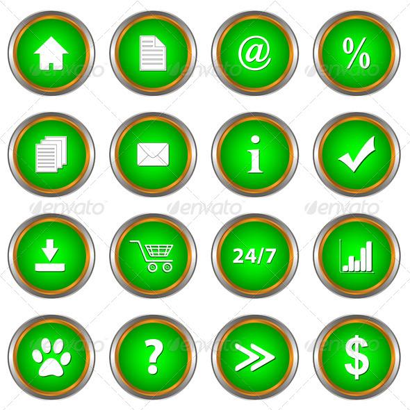 Set of Green Buttons - Web Elements Vectors