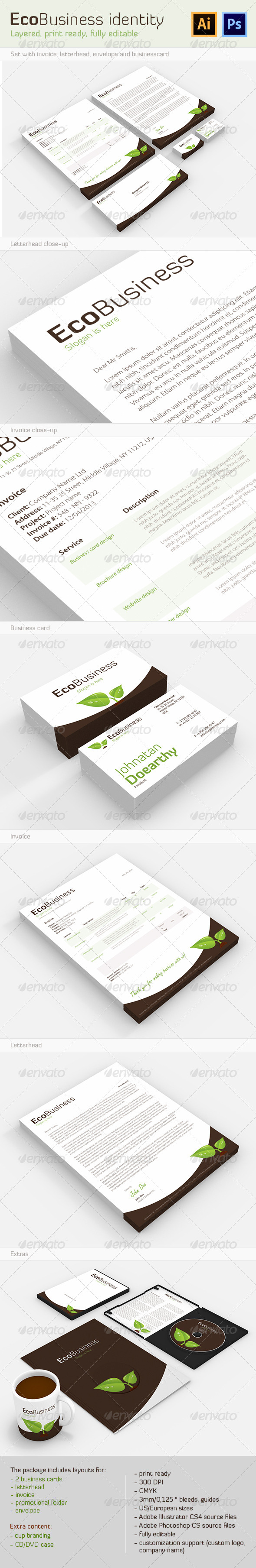 EcoBusiness Corporate Identity - Stationery Print Templates
